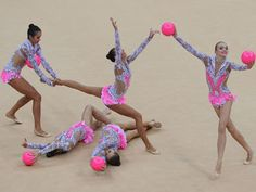 Russian rhythmic gymnastics team performing in the group all-around event at the London Games (RIA Novosti / Alexey Kudenko)