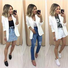 """1,754 curtidas, 19 comentários - Style Girl Brasil (@stylegirlbrasil) no Instagram: """"Começando a semana com 1 peças 3 looks com blazer branco. Peça versátil e super curinga. Qual seu…"""" Blazer Outfits, Basic Outfits, Casual Fall Outfits, Simple Outfits, Classy Outfits, Trendy Outfits, Cute Outfits, Fashion Outfits, Emo Outfits"""