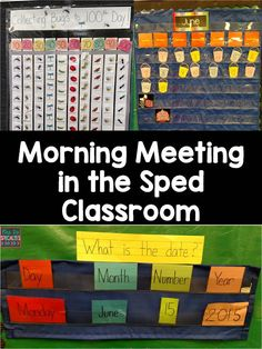 Morning Meeting in the special education classroom! Add language development, math, reading and letter activities into morning meeting to practice generalization of skills. Included in this blog post are strategies to use to keep students attending and participating. Perfect for the autism classroom! Autism Activities, Letter Activities, Classroom Activities, Classroom Organization, Classroom Ideas, Classroom Setting, Calendar Activities, Classroom Tools, Classroom Design