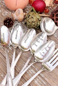 Hand Stamped Holiday Spoons Fork and Ladle 7-piece Set. #kitchen #registry #gifts