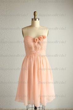 A-line Sweetheart Sleeveless Knee-length Chiffon Flowers Romantic Bridesmaid Dresses Prom Dresses Evening Dresses Party Dresses 2013