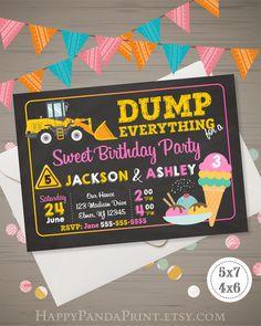 Trucks & Tutus Joint Birthday Invitation Double Birthday Party Invite Tutus Ballerina Trucks Dual In Double Birthday Parties, Sibling Birthday Parties, 3rd Birthday, Birthday Ideas, Aaliyah Birthday, Kid Parties, Mermaid Invitations, Birthday Party Invitations, Wedding Invitations