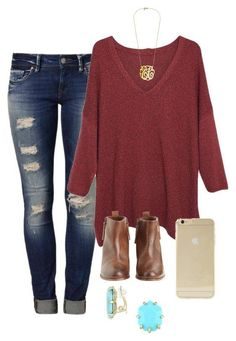 01718d0ca20 Red sweater and booties outfit featuring Mavi