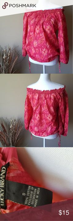 Lucky Brand off the shoulder shirt Pink and orange swirl design, off the shoulder, long sleeve shirt. Ties at the bottom on both sides at the waist to make tight or loose. Has elastic at the wrists  100% cotton. Lucky Brand Tops Blouses