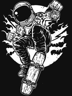 Astronaut Skateboarder by JKWArtwork Tattoo Outline, Poster Prints, Art Prints, Simple Illustration, Love Photos, Adult Coloring Pages, Graffiti Art, Aesthetic Wallpapers, Character Design