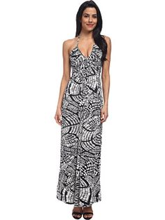 Tbags Los Angeles Deep-V Ruched Halter Maxi with Triple Braid