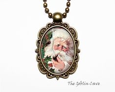 Santa Claus Necklace, Christmas Jewelry, Bronze Pendant, Stocking Stuffer Gift Christmas Necklace, Christmas Jewelry, Bronze Pendant, Pocket Watch, Santa, Trending Outfits, Unique Jewelry, Handmade Gifts, Accessories