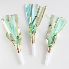 Handmade Fringe Party Horns: Blue/Mint