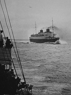 Liner Europa photographed while on her maiden voyage March 1930 Ss Normandie, Sail Away, Amazing Spaces, Beautiful Ocean, Tall Ships, Battleship, Sailing Ships, Cruise Ships, Around The Worlds