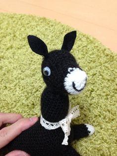 ソーイング:モノクロ馬の編みぐるみ