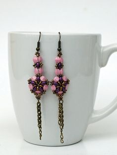 Beadwork Lilac  Purple Superduo Earrings  by craftybeadcollection