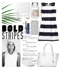 """""""#Bold Stripes"""" by detroitgurlxx ❤ liked on Polyvore featuring Tommy Hilfiger, Michael Kors, Victoria Beckham, Clinique, MICHAEL Michael Kors, Yankee Candle and Lacoste"""