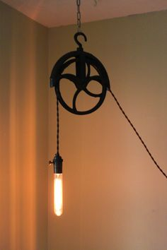 Antique Pulley lamp by pgpostals on Etsy, $190.00