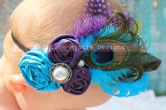Peacock Headband-Purple and Turquoise Peacock Headband-PEACOCK HAIRCLIP-Hairclips for Prom-Headband Peacock-Hair clip Peacock