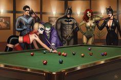 Batman pool sharks by Nathan Szerdy Fan Art Batman, Batgirl, Catwoman, Pinup, Avatar The Last Airbender Art, 3d Fantasy, Comics Girls, Joker And Harley Quinn, Gotham City
