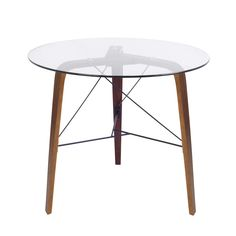 With its sturdy construction, sleek curves and retro flair, the bent walnut wood is complimented by a circular glass top. Paired perfectly with the Trilogy Bistro Chairs, its sure to be a standout piece.