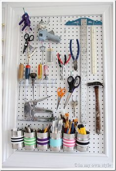 How to organize your tools. Maybe placed on the inside of the utilities closet door or wall.