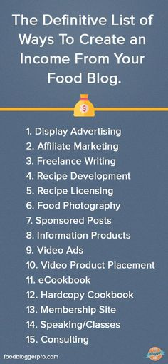 The Definitive List of Ways To Create an Income From your Food Blog | http://foodbloggerpro.com