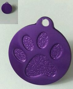 Personalized Small Purple Paw Print Pet ID Tag Aluminum Free Engraving | eBay