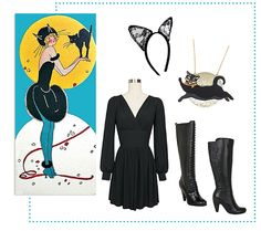 BIANCA DRESS TO BLACK CAT Are you the office cat lady? Show it off right meow with the Rosita Bonita Black Cat Moon Necklace and Maison Close Les Romantiques Headband. Throw on the black Bianca Dress and Miz Mooz Sharlene Boots to complete your purrrfect black cat costume!