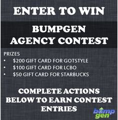 Bumpgen Agency Contest Enter To Win, Marketing