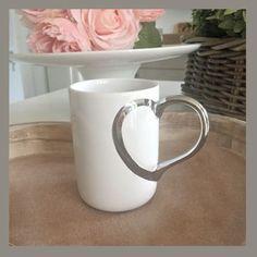 Silver heart mug