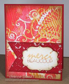 Merci Beaucoup | Inky Paws The background is painted (Gelli Printing… thanks Lydia!) with acrylic paints and then splattered with Smooch Glitz ( Goldrush).