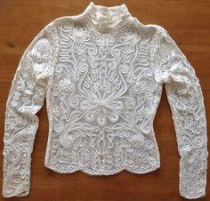 Cache Elegant Soutache Braid Lace Blouse Top Shirt Long Sleeves Ivory Size Large #Cache #Top