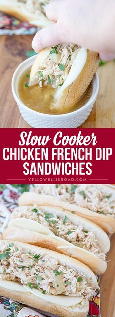 Slow Cooker Chicken French Dip Sandwiches recipe - Easy comfort food that's perfect for a busy weeknight dinner