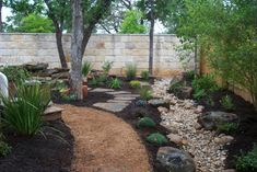 Texas landscaping, texas native plants, water features, rock and masonry stonework by Kevin Woods Landscapes. Landscaping Austin, Wooded Landscaping, Landscaping With Rocks, Backyard Landscaping, Landscaping Ideas, Backyard Bar, Landscaping Software, Tropical Landscaping, Landscape Plans