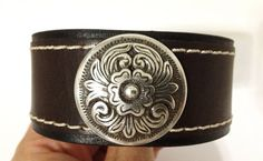 Brown cuff with concho. Women's bracelet by ChristyKeysCreations, $14.00