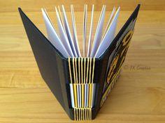 Caderno com encadernação longstitch (detalhe da encadernação)