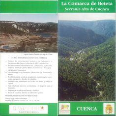Folleto turístico de Beteta y su comarca en la Serranía de Cuenca, con lugares de interés servicios, principales pueblos y mapa de situación. Patronato de Desarrollo Provincial de Cuenca, 1993. #Cuenca #Beteta #Turismo