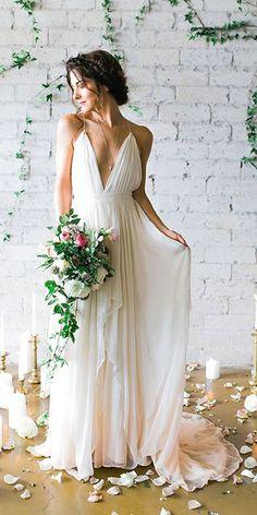 timeless deep v neck wedding dress #weddingdresses #weddingdress #bohowedding