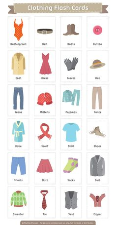 42efb44c3 Free printable clothing flash cards. Download them in PDF format at  flashcardfox.