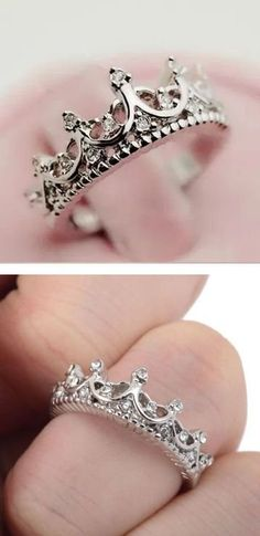 Rings Princess Crown Ring ❤︎ promise Ring to wait until marriage bc K is a princes. Princess Crown Ring ❤︎ promise Ring to wait until marriage bc K is a princess Cute Jewelry, Body Jewelry, Bridal Jewelry, Jewelry Rings, Silver Jewelry, Jewelry Accessories, Pandora Jewelry, Jewelry Holder, Jewlery