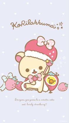 Korilakkuma Strawberry-Bunny Series Phone Wallpaper • 640x1136 • 1080x1920