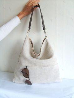 Linen tote bag, Hobo tote bag, light grey bag with lether strap, light grey tote, casual tote bag, simple tote purse on Etsy, $40.00