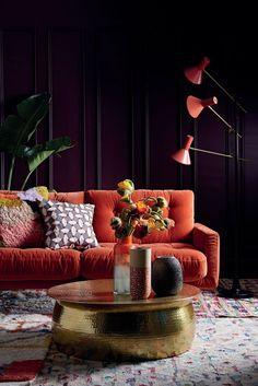 A great decorating idea for autumn, this burnt orange sofa is the focal point of the room and complements the patterned cushions. (Photo: Habitat) room decor Discover your seasonal colour personality to help you decorate your home Living Room Sofa, Living Room Interior, Home Living Room, Home Interior Design, Living Room Furniture, Living Room Designs, Living Room Decor, Cozy Living, Dining Room