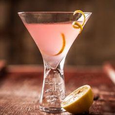 Rhubarb Lemondrop Martini: Twist of Lemon, Vodka, Lemon Juice, Rhubarb Syrup (recipe).