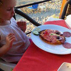 "Nina with her ""Mickey Mouse Pizza"""
