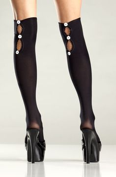 cd0167c853f Sexy Be Wicked Black Opaque Button-Up Knee Highs Stockings Silk Stockings