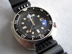 A lovingly restored vintage Seiko 6105 automatic dive watch.