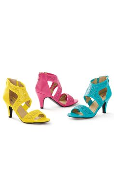 Perforated Back Zip Pump by Boston Design Studio™. Bright, fun high heels  for