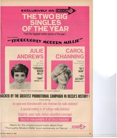 """Julie Andrews Carol Channing Thoroughly Modern Millie - """"The Two Big Singles Of The Year"""" Cash Box Promo 1967"""