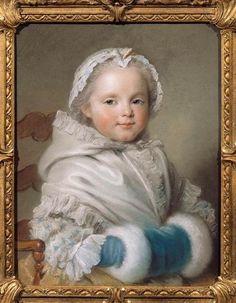 Pastel, portrait de Nicole Ricard enfant par Maurice Quentin de La Tour (1704-1788)