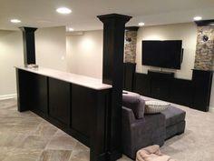Basement built in bar and shelves - houzz