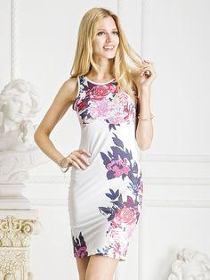 Choies Women's Cotton White Retro Floral Cut Away Midi Bodycon Dress: Amazon Fashion