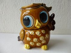 Vintage 50s 60s Japanese Collectable Big-Eyes Owl Bird Coin-Bank Porcelain Statue Figurine Graduation Nursery Ceramic Kitsch Japan Glam Garb
