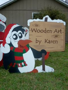 penquin with personalized sign wood yard art decoration christmas holiday yard decorations - Wooden Christmas Lawn Decorations